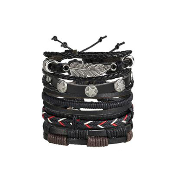 Set of 5 Vintage Leaf Feather Multilayer Leather Bracelet Men Fashion Braided Handmade Star Rope Wrap Bracelets