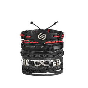 Set of 5 Vintage Dollar Multilayer Leather Bracelet Men Fashion Braided Handmade Money Rope Wrap Bracelets