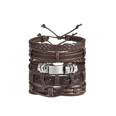 Set of 5 Vintage Belt Multilayer Leather Bracelet Men Fashion Braided Handmade Rope Wrap Bracelets