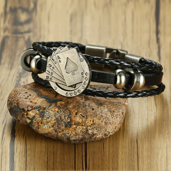 Lucky Vintage Men's Leather Bracelet Playing Cards Raja Vegas Charm Multilayer Braided Women 7.87""