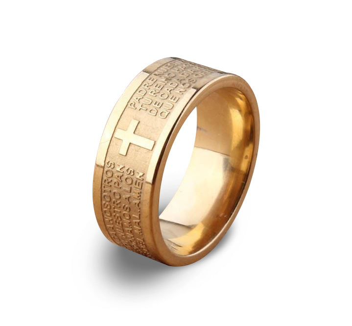 7mm Tone Spanish Golden The Holy Bible Lord's Prayer Cross Ring Stainless Steel Rings, Size 10