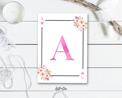 Boho Floral Bouquet Initial Flower Letter A Heart Monogram Note Cards