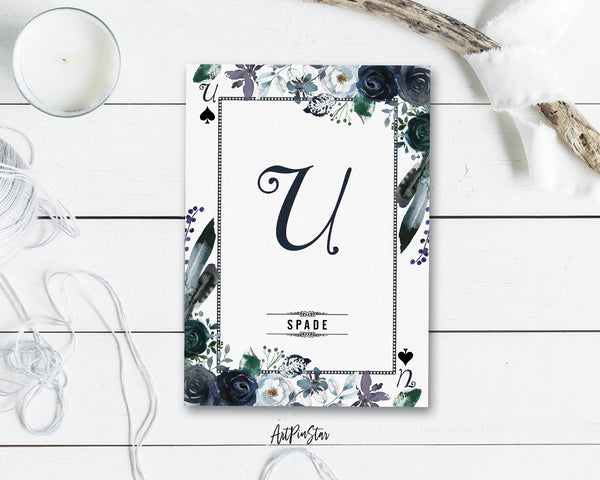 Watercolor Floral Flower Bouquet Initial Letter U Spade Monogram Note Cards