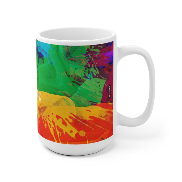 Bursting Painting White Ceramic Cat Coffee Tea Mug Cup