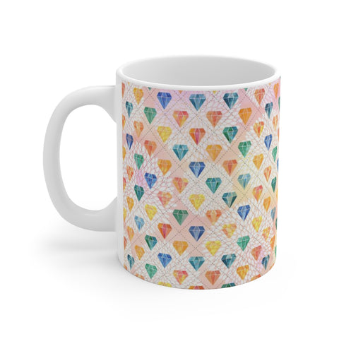 Diamond Pattern Watercolor Painting White Ceramic Coffee Tea Mug Cup