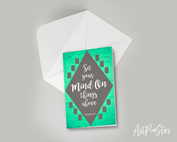 Set your mind on things above Colossians 3:2 Bible Verse Customized Greeting Card