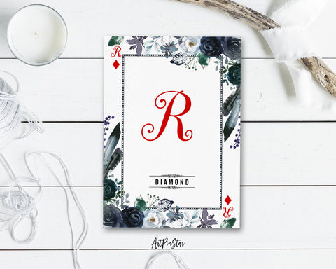 Watercolor Floral Flower Bouquet Initial Letter R Diamond Monogram Note Cards