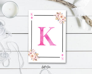 Boho Floral Bouquet Initial Flower Letter K Diamond Monogram Note Cards
