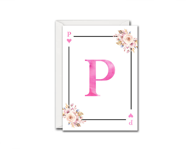 Boho Floral Bouquet Initial Flower Letter P Heart Monogram Note Cards