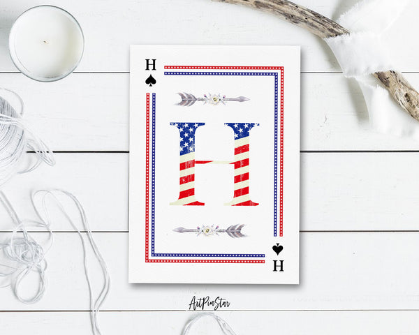 American Flag Letter H Spade Monogram Note Cards