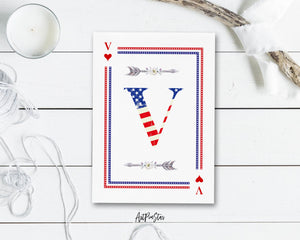 American Flag Letter V Heart Monogram Note Cards