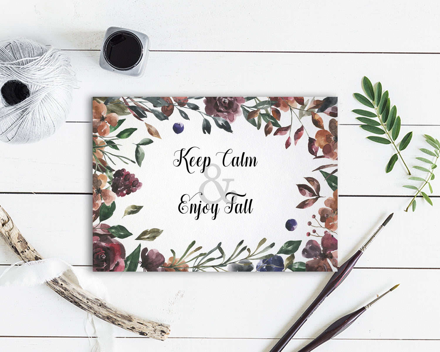 Keep calm and enjoy fall Flower Quote Customized Gift Cards
