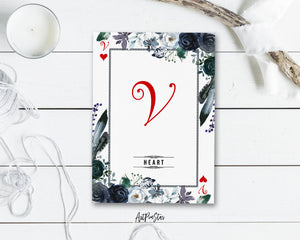 Watercolor Floral Flower Bouquet Initial Letter V Heart Monogram Note Cards
