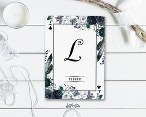 Watercolor Floral Flower Bouquet Initial Letter L Clover Monogram Note Cards