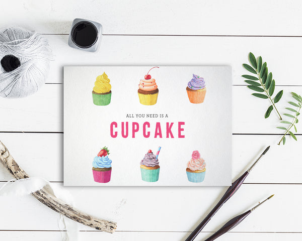 All you need is a cupcake Food Customized Gift Cards