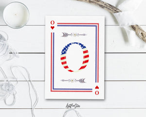 American Flag Letter O Heart Monogram Note Cards