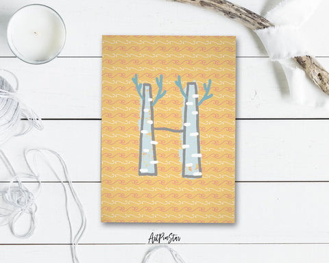 Alphabet Forest Letter H Animal Monogram Note Cards