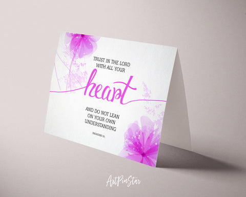 Trust in the Lord with all your Heart Proverbs 3:5 Bible Verse Customized Greeting Card