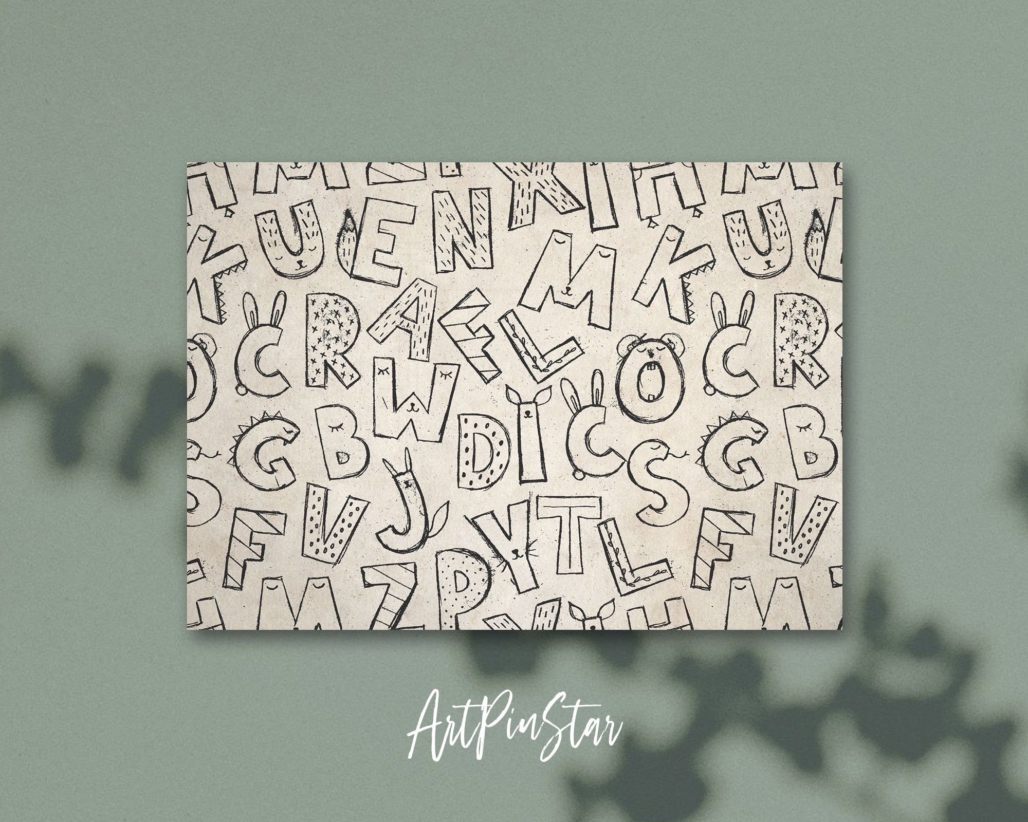 Alphabet Animal Letter Pattern A-Z Line Monogram Note Cards