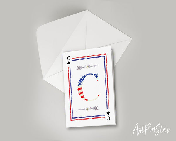 American Flag Letter C Spade Monogram Note Cards