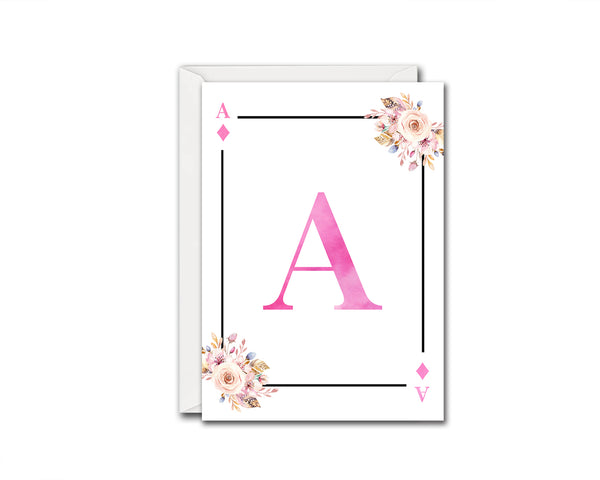 Boho Floral Bouquet Initial Flower Letter A Diamond Monogram Note Cards