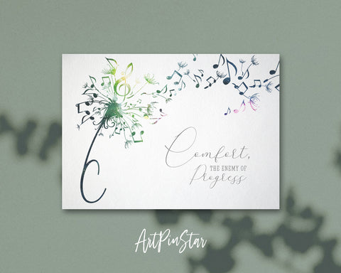 Inspiring Music Quote Letter C Symbol Comfort, the enemy of progress