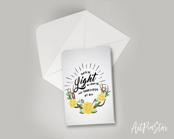 God is Ligfht in him is no darkness at all Bible Verse Customized Greeting Card