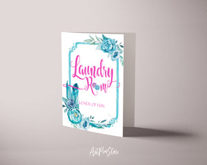 Laundry room loads of fun Sign Quote Customized Greeting Cards