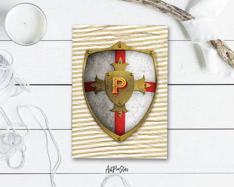 Alphabet Shield Letter P Signature Monogram Note Cards
