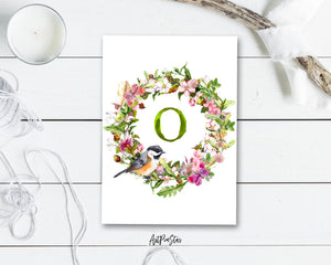 Alphabet Wreath Green Letter O Boho Floral bird Monogram Note Cards