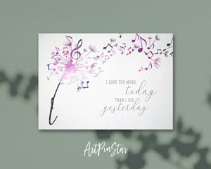 Inspiring Music Quote Letter I Symbol I love you more today than I did yesterday