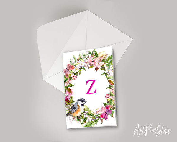 Alphabet Wreath Pink Letter Z Boho Floral bird Monogram Note Cards