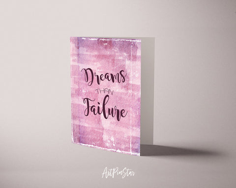 Dreams than failure Suzy Kassem Inspirational Quote Customized Greeting Cards