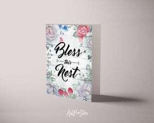 Bless this nest Inspirational Quote Customized Greeting Cards