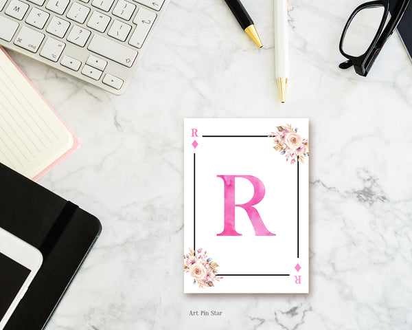 Boho Floral Bouquet Initial Flower Letter R Diamond Monogram Note Cards