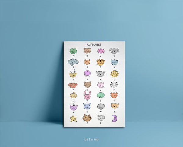Alphabet Animal Letter Initial Chart A-Z Color Monogram Note Cards