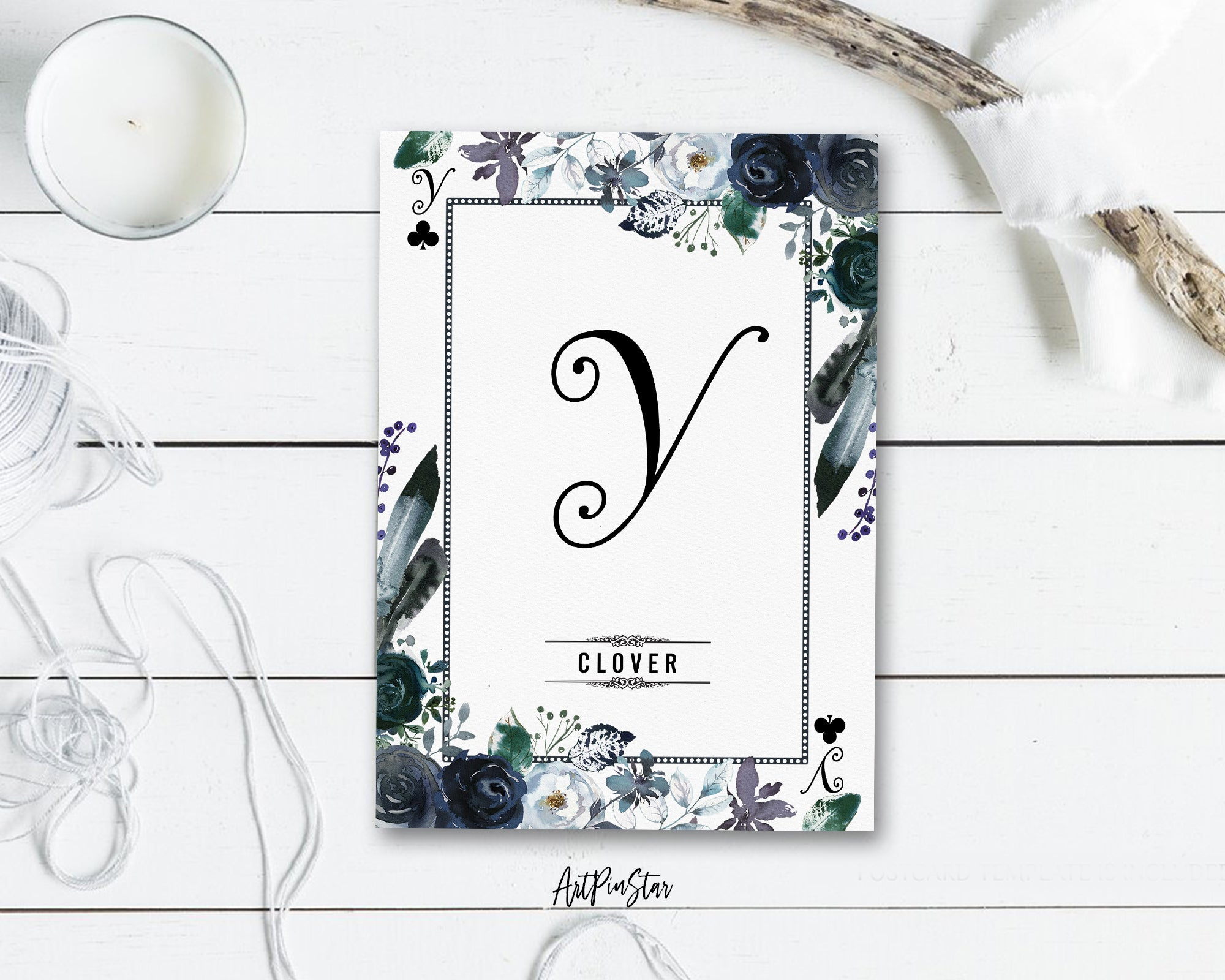 Watercolor Floral Flower Bouquet Initial Letter Y Clover Monogram Note Cards