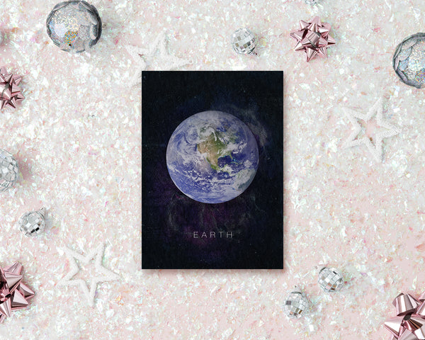 Earth Planet Universe Space Solar System Customizable Greeting Card