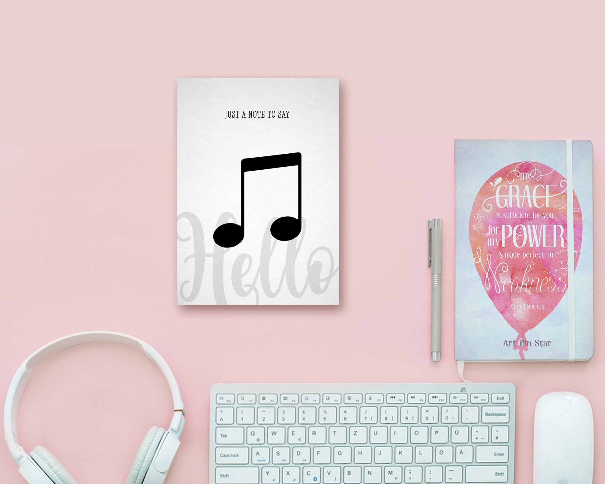 Just a note to say Hello Sixteenth Note Sixteenth Note Music Gift Ideas Customizable Greeting Card