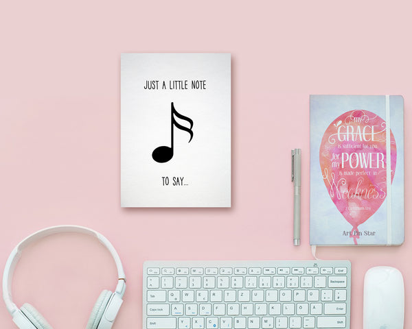 Just a little note to say Sixteenth Note Sixteenth Note Music Gift Ideas Customizable Greeting Card