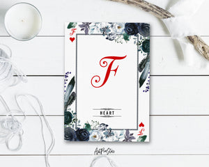 Watercolor Floral Flower Bouquet Initial Letter F Heart Monogram Note Cards