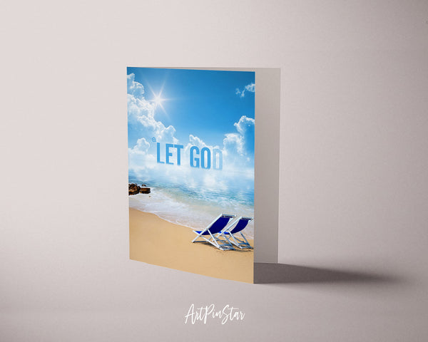 Let go and let Bible Verse Customized Greeting Card