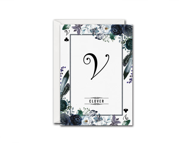 Watercolor Floral Flower Bouquet Initial Letter V Clover Monogram Note Cards