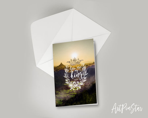 You are my king Psalm 44:4 Bible Verse Customized Greeting Card