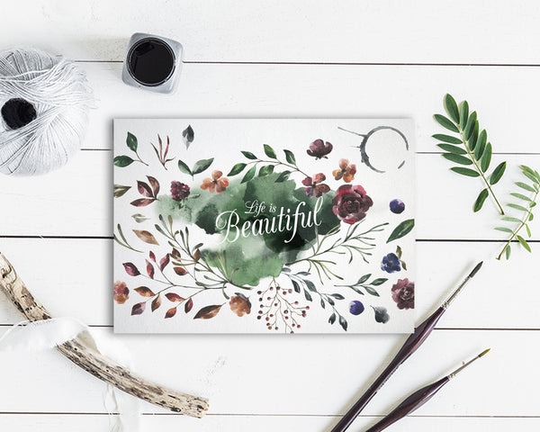Life is beautiful Flower Quote Customized Gift Cards