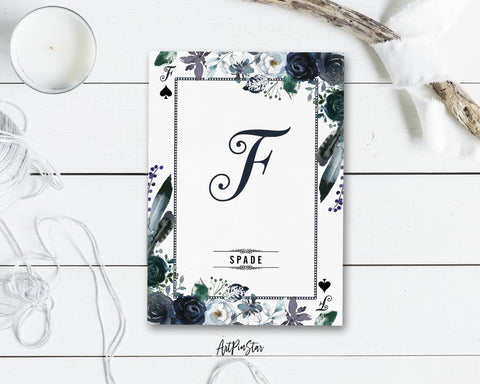 Watercolor Floral Flower Bouquet Initial Letter F Spade Monogram Note Cards