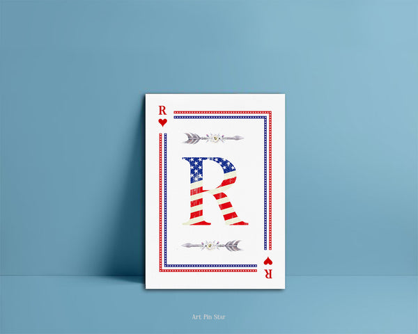 American Flag Letter R Heart Monogram Note Cards