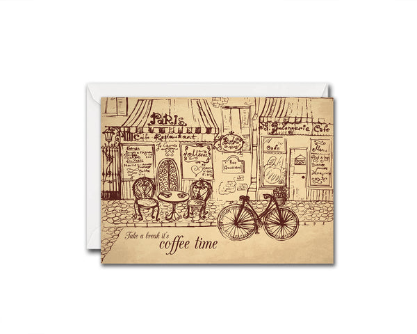 Take a break it's coffee time Humor Quote Customized Greeting Cards