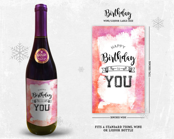Happy Birthday To You Holiday Wine Bottle Customizable Label