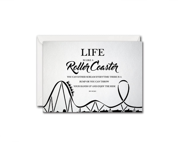 Life is like a roller coaster Wisdom Quote Customized Greeting Cards